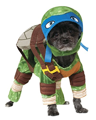 Leonardo Ninja Turtle Hundekostüm für Halloween & Karneval (Kostüme Haustiere Für Leonardo Tmnt)