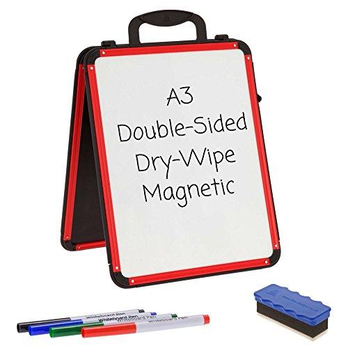 Wedge lavagne bianche, formato A3, chiusura magnetica, cancellabile a secco, a doppio lato, portatile, colore: bianco, da tavolo, per presentazioni/riunioni/insegnamento aiuto (RED & colore: nero