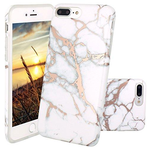 Cover iPhone 8 Plus, JIAXIUFEN TPU Gel Silicone Protettivo Custodia Case Cover Per Apple iPhone 7 Plus / iPhone 8 Plus - Bianco Marmo Design Shiny Rose Gold Watercolor White