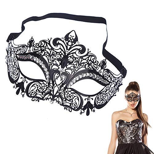 EQLEF® Sexy Schwarz Metall Venezianische Maske mit weißen Strass Masquerade Halloween Cosplay ()