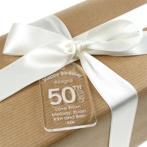 Personalised 50th Birthday Acrylic Gift Tag For Her Bottle