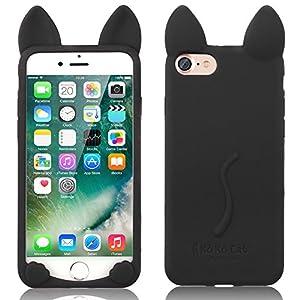iPhone 6 Abdeckung, TechCode® Niedlich 3D Cartoon Katze Tier Typ Gel Weich Case Stoßfest Hülle für Apple iPhone 6 (iPhone 6, A10)
