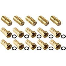 Juego de Conectores PoppstarCoax, 5 conectores F y 10conectores F con anilla de goma para cable SAT (hasta 7mm), para cable coaxial y alargador, contactos dorados