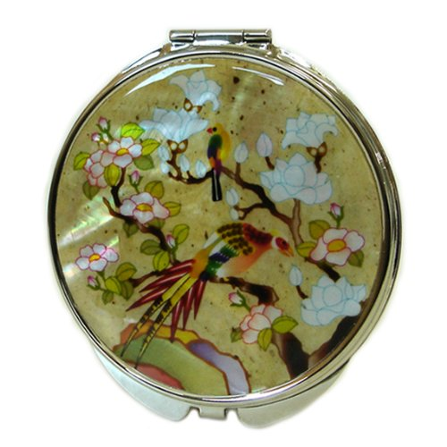 Miroir Compact Double Jaune en nacre Miroir pour maquillage grossissant pour maquillage ou cosmétiques miroir de sac ou sac avec motif fleurs de magnolia blancs et oiseaux