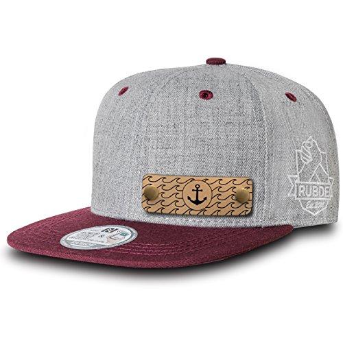 RUBDE Cap2 | Individuelle Snapback Cap Basecap Kappe mit Lederpatch, NFC-Sticker und QR-Code Größen - personalisierbar | Unisex - Herren Damen Kinder Kids | Bordeaux Rot S -
