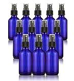 Juvale 12 Pack Blue Mist Glass Spray Bottle – Mini Fine Mist Spray Atomizer Pumps Essesntial Oils, Perfumes, Cleaners Refillable & Reusable Empty Glass Bottles 2 oz Blue