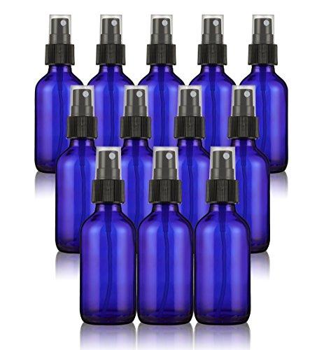 Juvale Fine Mist - Juego de 12 mini botellas con spray pulverizador para aceites esenciales, perfumes y demás, frascos de cristal vacíos, rellenables y reutilizables, 60 ml, color azul cobalto