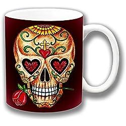 Vintage Retro mexicana Azúcar Día de los muertos Borgoña Cerámica Té Café