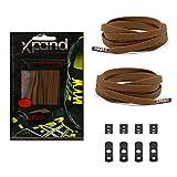 Xpand Schnürsenkel ohne binden - Flache elastische Schnürsenkel mit einstellbarer Spannung - in alle Schuhe einfach nur hineinschlüpfen (BRAUN)