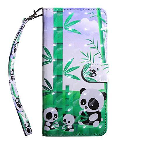 vingarshern Hülle für DOOGEE Y300 Schutzhülle Tasche Etui Klappbares Magnetverschluss Lederhülle Flip Case Handytasche Doogee Y300 Hülle Leder Brieftasche MEHRWEG(Pandas)