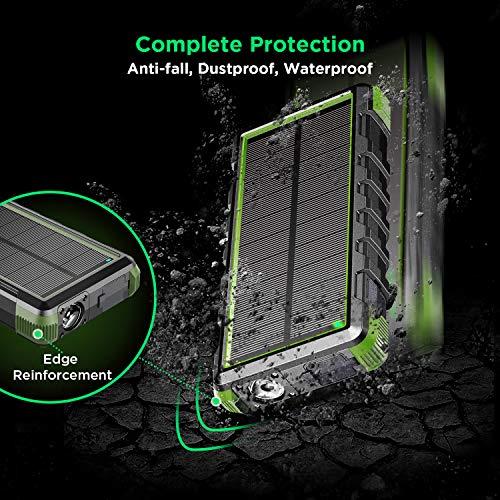 EasyAcc Externer Akku 20000mAh Outdoor Power Bank mit IP67 Zertifizierung Wasserdicht Staubdicht Sowie Stoßfest, 3 Leuchtmodis Taschenlampenfunktion für iPhone, iPad, Samsung Galaxy und Viele Andere - 4