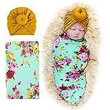 DRESHOW Mantas para recibir flores recién nacidas Bebé recién nacido envuelto con sombreros Mochila Mochila Niño pequeño Cálido