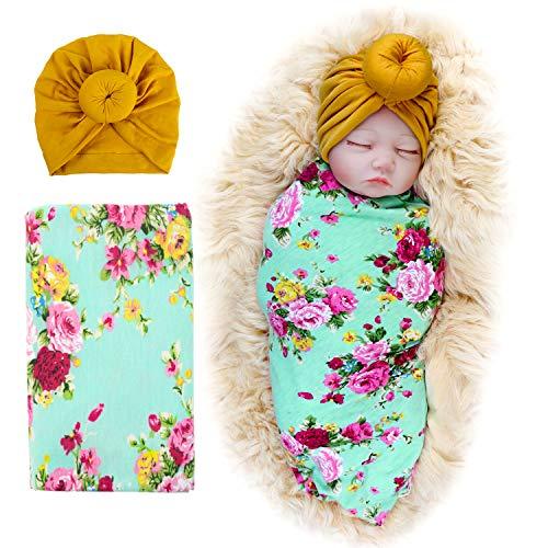 DRESHOW Hut, für Neugeborene Gr. Einheitsgröße, Yellow Hats And Green Swaddling
