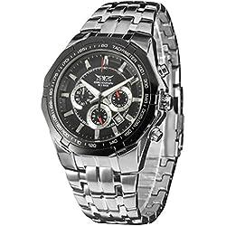 LEORX Premium Quality Men Calender Quartz Wrist Watch with Stainless Steel Band