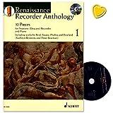 Enregistreur Renaissance Anthology bande 1–32pieces for Soprano (Descant) Recorder And Piano–Note livre avec CD et cœur coloré Note Pince