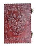 qualityart handgefertigtes Leder-Tagebuch 2 Drachen 2Verschlüsse geprägter Einband 25 x