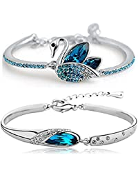 Shining Diva Fashion Blue Crystal Bracelet Kaada Bangle Set for Girls and Women (Blue) (cmb213)