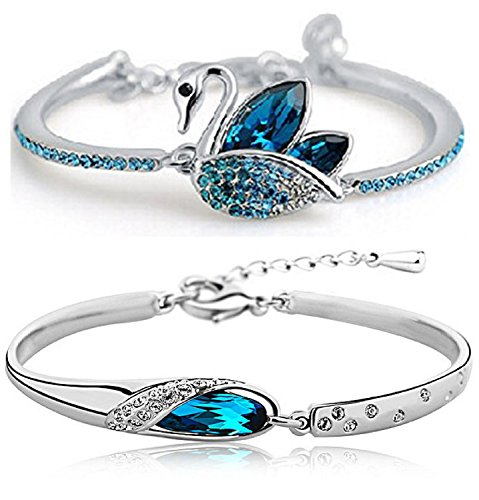 Shining Diva Fashion Blue Crystal Bracelet Kaada Bangle Set For Girls and Women