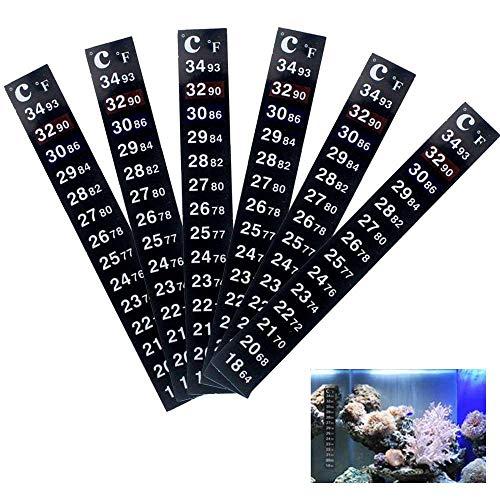 KOBWA Brewing Thermometer Strip, 6 Stück Klebestreifen Aquarium Dual Scale Flüssigkeit Aquarium Thermometer Aufkleber für Fish Tank/Kombucha, 64℉ bis 93℉ & 18℃ bis 34℃