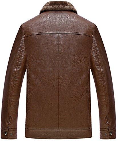 WS668 Winter Herren Warmer Coat Leder Mantel Lamm Wolle Gefüttert Motorrad Jacken Braun