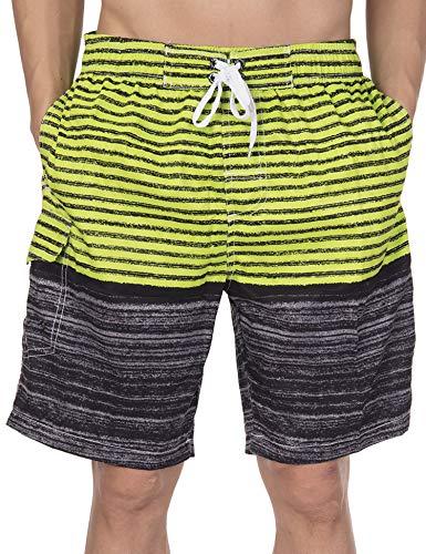 MmNote Mens Beach Shorts Stripe Zip Pocket Elastic Cord Casual Cotton Sports Shorts Quick Dry Pants