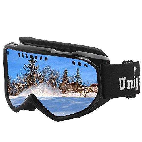 Unigear UV Schutz Skibrille Snowboardbrille Anti-Fog&Wind mit Zylindrische Gläser (Schwarzer Rahmen-Silbere Linse(VLT 15%))