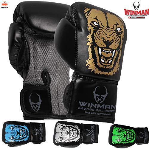 Winman Kinder Boxhandschuhe für MMA Muay Thai Kampfsport Boxsack Training Sparring Mitts Ideal für Training und Sparring PU Leder 57-113 g von Winman, grün, 2oz