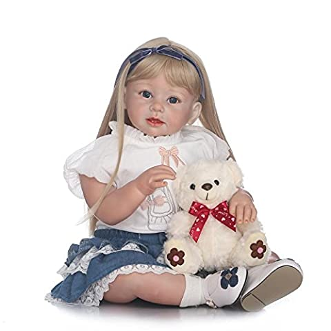 LILITH 27Inch 70cm Long Blonde Hair Handmade Lifelike Reborn Baby Doll Toddler Realistic Looking Newborn Babies Dolls Soft Silicone Baby Girl for Kid Toy