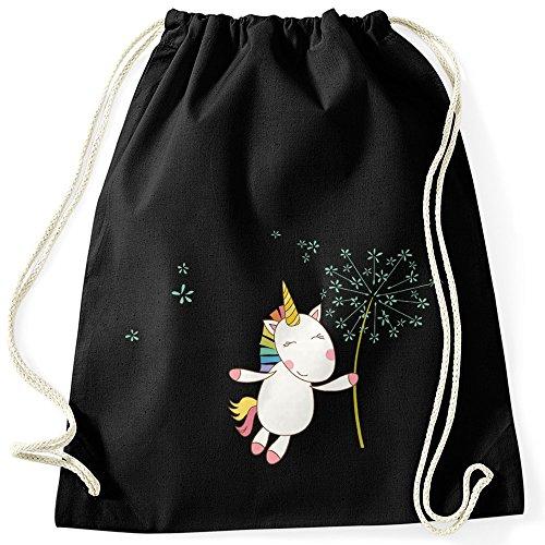 Turnbeutel Einhorn mit Pusteblume Unicorn with Dandelion Gymsac Gymbag Moonworks® schwarz unisize