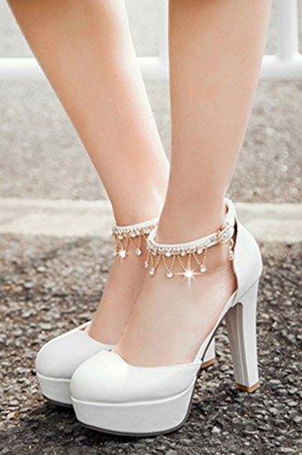 Aisun Femme Elégant Plateforme Bout Rond Strass Escarpins Blanc