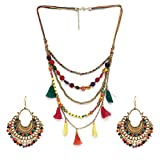 #5: Zephyrr Combo Boho Multicolor Beaded Tassels Multistrand Necklace and Earrings for Girls and Women