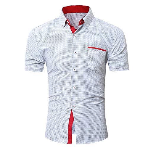 Männer Kurzarmshirt | Patchwork Hemd Drucken Businesshemd Stehkragen Shirt Party Business Freizeithemd Kurzarm Elastisch Slim Fit für Herren-Hemd