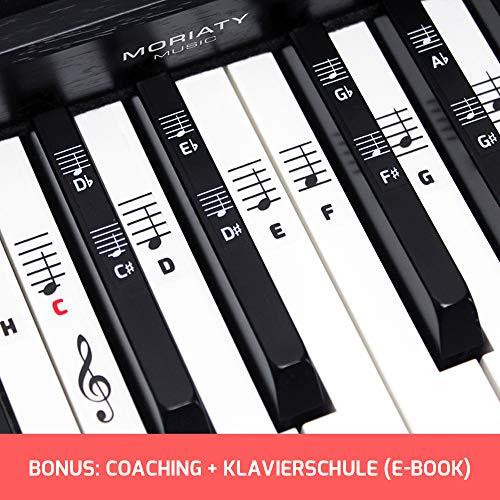 Klavier + Keyboard Noten-Aufkleber [DEUTSCHE VERSION + eBook] für Instrumente mit 49 | 61 | 76 | 88 Tasten Piano Sticker für weiße & schwarze Tasten + E-Book