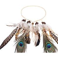 Diadema de flores accesorios para el pelo, de plumas de pavo real de la India, para mujeres