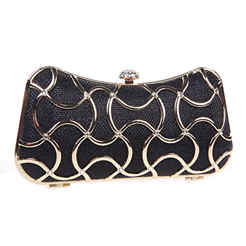 Bonjanvye Metal Clutch Evening Bags for Women Clutch With Handle Gold Black