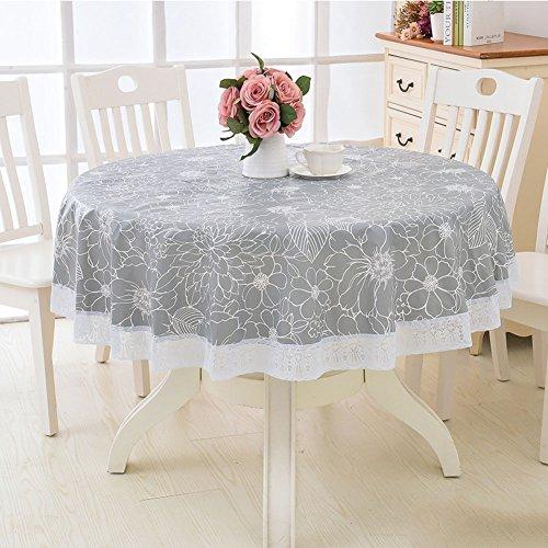 Hm&dx pvc impermeabile tovaglia tonda,senza olio resistente alle macchie decorazioni di pizzo copertura tovaglia tavolino da pranzo copertura protector-b diametro 220cm(87inch)