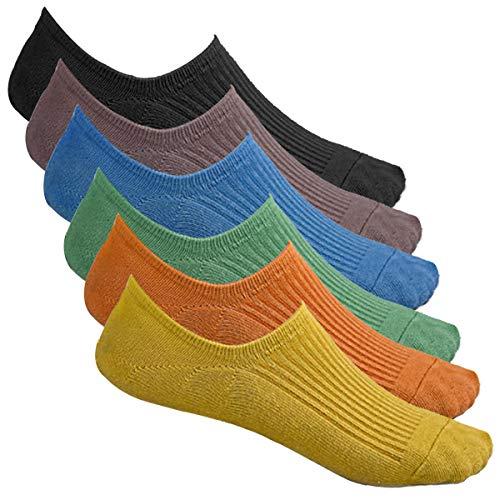 Bestele 6 Pares Calcetines Invisibles Hombre & Mujer, Algodón Transpirable Calcetines Cortos Elástco Con Silicona Antideslizante Calcetín Para Zapatos de Casuales (34-40)