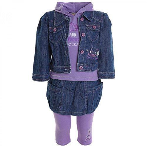 Kinder Baby Mädchen Kleiodung Paket Set 4 tlg T-Shirt Jacke Rock Leggings 20330, Farbe:Lila;Größe:12 M