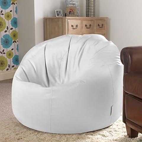Bean Bag Bazaar® Panelled XL Bean Bag Chair WHITE Faux Leather Bean Bags