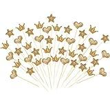 Boao 90 Stück Cupcake Toppers, Gold Glitter Herz Stern Crown Form Toppers Sticks für Party Kuchen Dekorationen
