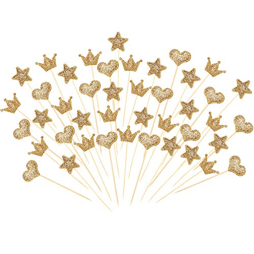 Boao 90 Stück Cupcake Toppers, Gold Glitter Herz Stern Crown Form Toppers Sticks für Party Kuchen Dekorationen