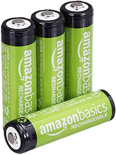 AmazonBasics AA-Batterien, wiederaufladbar, vorgeladen, 4 Stück (Aussehen kann variieren)