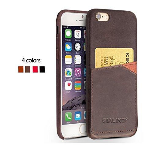 iPhone 6,6s, 6Plus, 6S Plus Schutzhülle Ultra Slim Bumper, Schutzhülle, Rückseite aus echtem Leder für 11,9cm Apple Telefon, qialino Handmade Weich und Displayschutzfolie mit Rücken Schlitz für Karte iphone6s Dark Brown