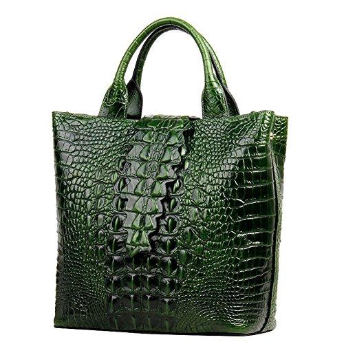 Jsix Borsa in Vera Pelle Borse Tote Donna Croc Paten Designer a spalla con tracolla staccabile Borsa a Tracolla Verde