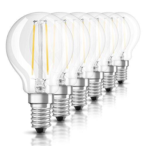 Osram LED Star Classic P Lampe, in Tropfenform mit E14-Sockel, nicht dimmbar, Ersetzt 25 Watt, Filamentstil Klar, Warmweiß - 2700 Kelvin, 6er-Pack