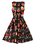 Christmas Dress, iPretty Womens Christmas Swing Dresses Mother and Daughter Ladies Long Sleeve Bell Olaf Santa Gifts & Bells Snowman Xmas Swing Dress Top Plus Size Black Elk with Christmas Hat