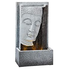 TFH – Fuente LED con forma de Buda para exterior, rectangular, efecto piedra