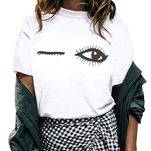 Strung2019 Sommer Frauen Mädchen Lustige Kurzarm Mond Katze Print Punk Gothic T-Shirt, Lässiges...