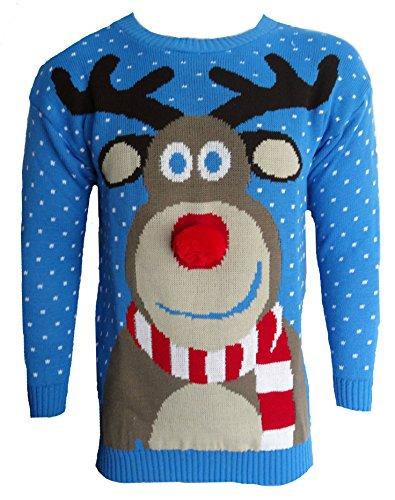 Herren Damen 3D Rudolph Rentier Elfen Weihnachten Neuheit Pullover Stricktop - BLAU POM POM NASE, Herren, (Nase Rudolph)