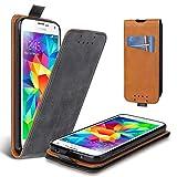 Lelogo Galaxy S5 Hülle, Leder Tasche für Samsung Galaxy S5/ S5 Neo Handyhülle Flip Case Schutzhülle (Dunkel Grau)